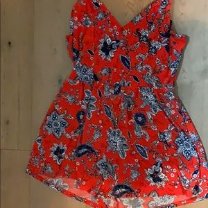 Red black and blue romper